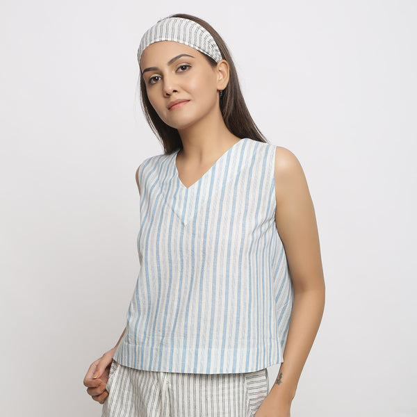 Asymmetrical Wrap Top and Striped Culottes Set