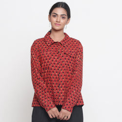 Front View of a Model wearing Bagru Brick Red Button-Down Top