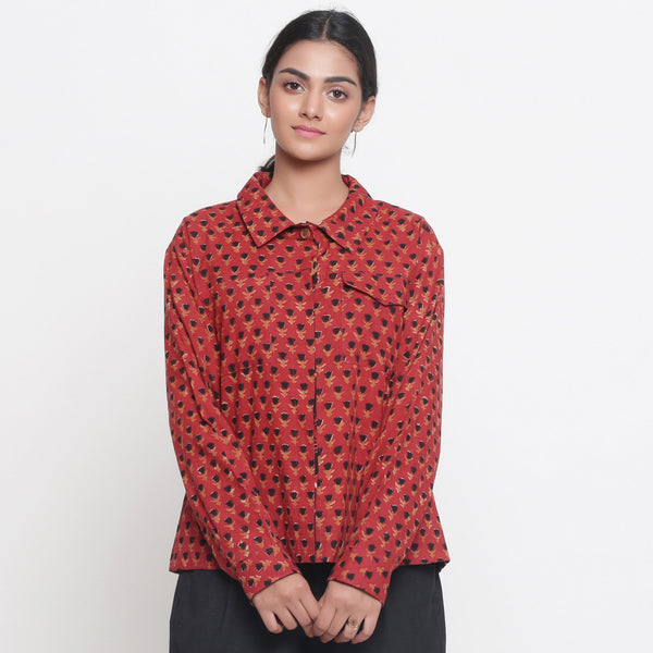 Front View of a Model wearing Bagru Brick Red Button-Down Cotton Shirt