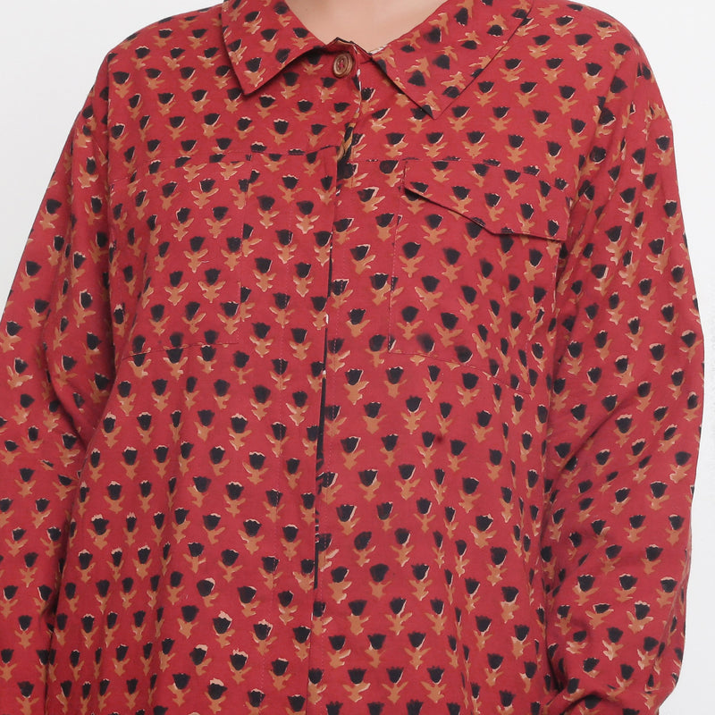 Front Detail of a Model wearing Bagru Brick Red Button-Down Top