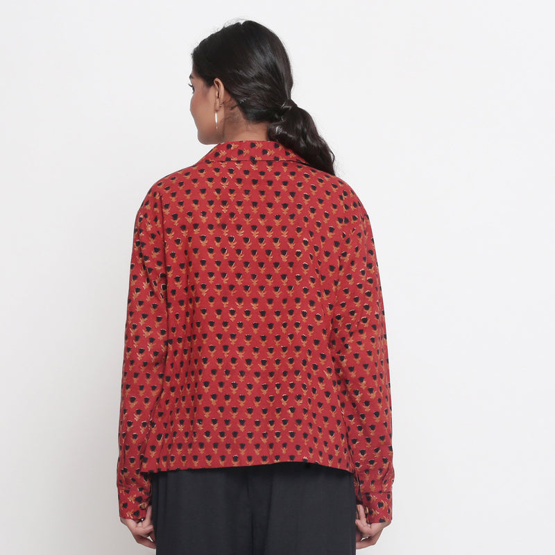 Back View of a Model wearing Bagru Brick Red Button-Down Top