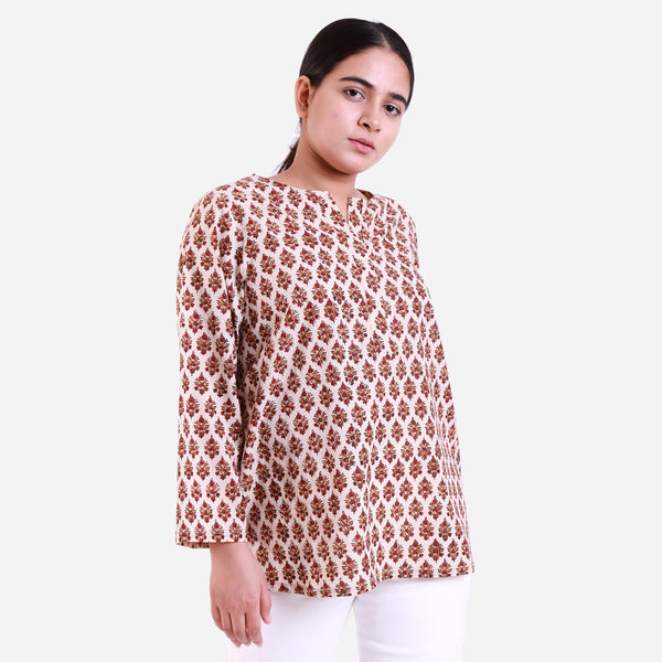 Right View of a Model wearing Bagru Hand-Block Printed A-Line Top