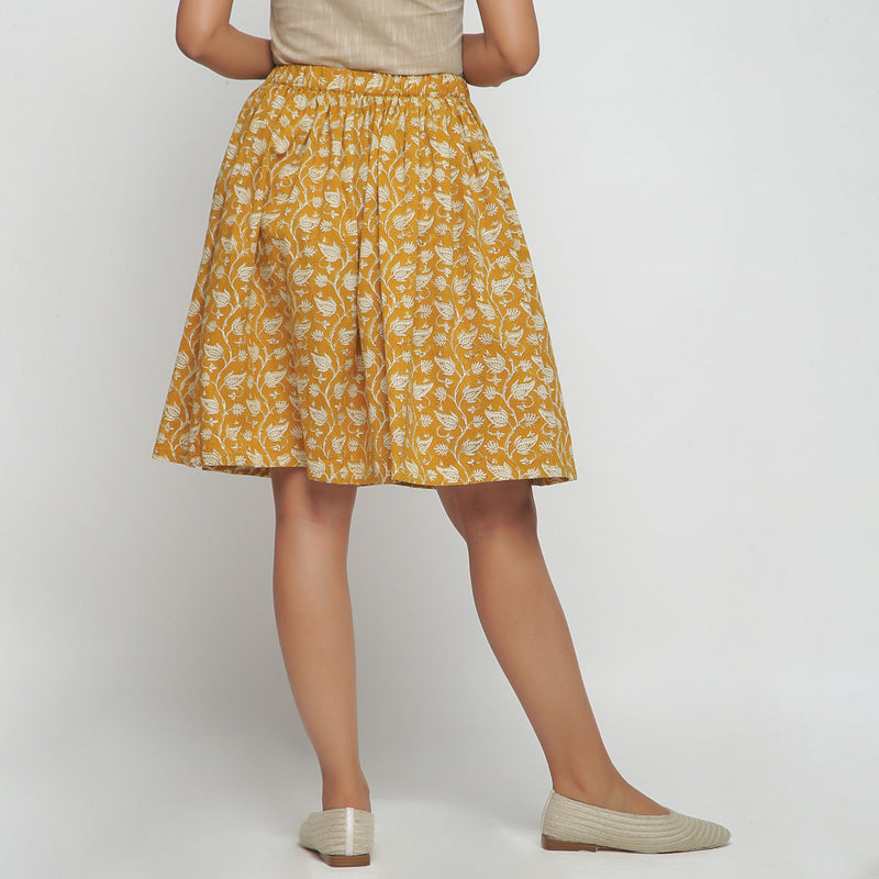 Back View of a Model wearing Bagru Print Mustard Mid Rise Skirt