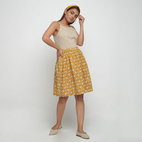 Front View of a Model wearing Bagru Print Mustard Mid Rise Skirt