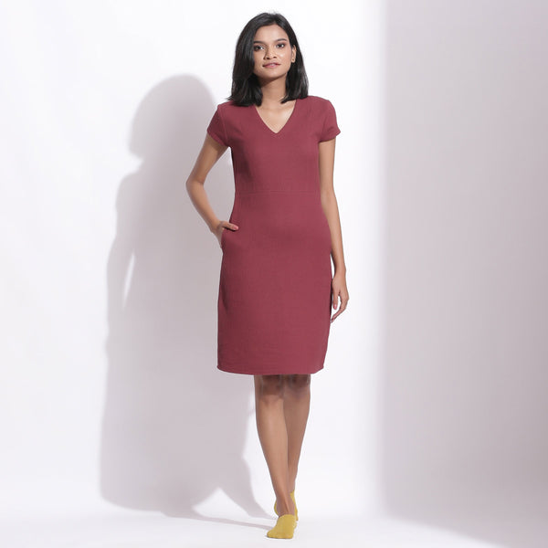 Front View of a Model wearing Barn Red Cotton Waffle V-Neck Dress