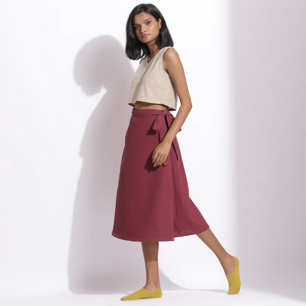 Left View of a Model wearing Barn Red Cotton Waffle Wrap Skirt