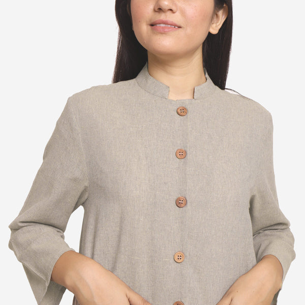 Front Detail of a Model wearing Basic Beige Cotton Button-Down Jacket
