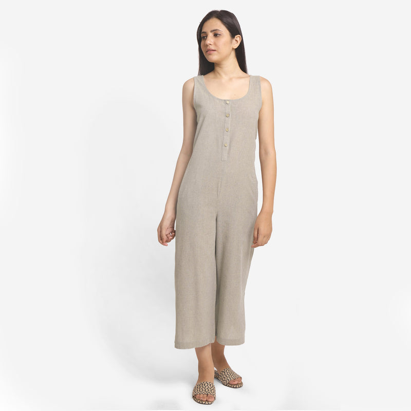 Front View of a Model wearing Basic Beige Wide-Legged Jumpsuit