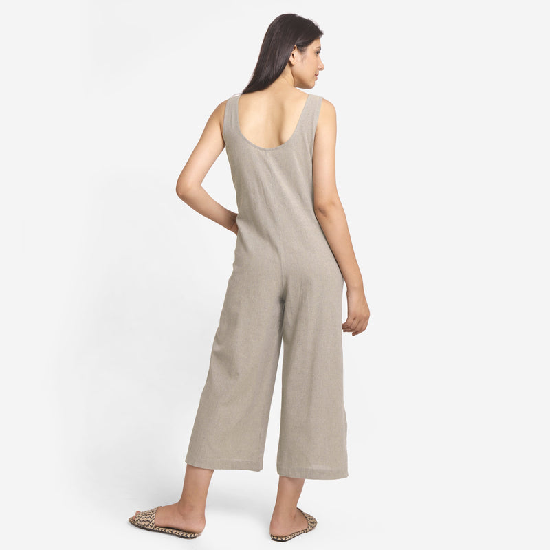 Back View of a Model wearing Basic Beige Wide-Legged Jumpsuit