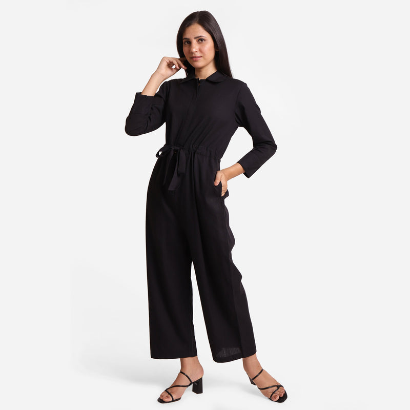 Front View of a Model wearing Black Wide Legged Cotton Overall