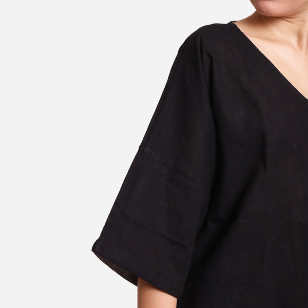 Close View of a Model wearing Black Loose Fit Drop Shoulder Top