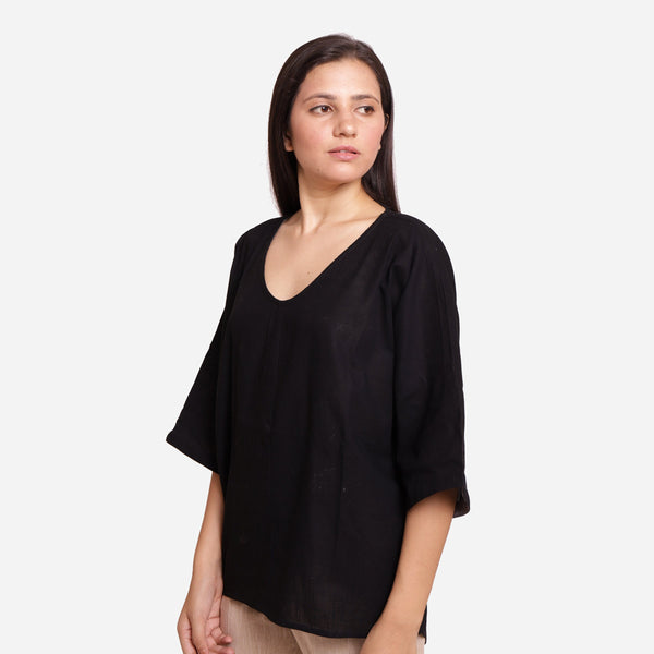 Left View of a Model wearing Black Loose Fit Drop Shoulder Top