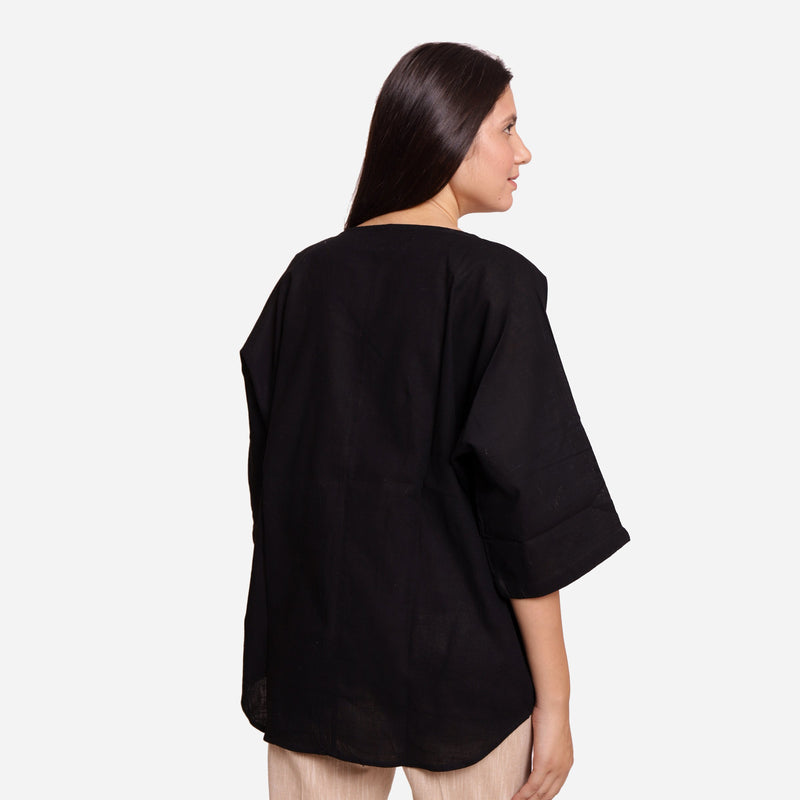 Back View of a Model wearing Black Loose Fit Drop Shoulder Top