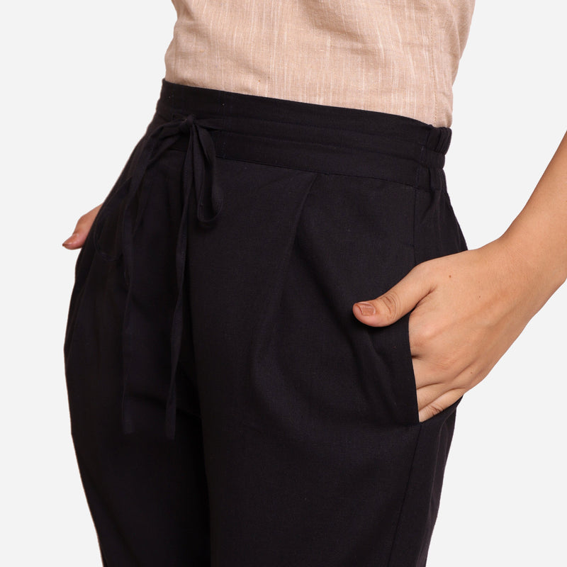 Close View of a Model wearing Black Cotton Flax Wide Legged Pant