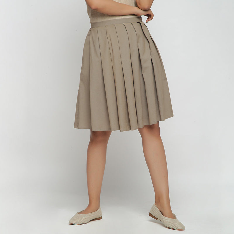 Front View of a Model wearing Basic Brown Cotton Flax Pleated Skirt