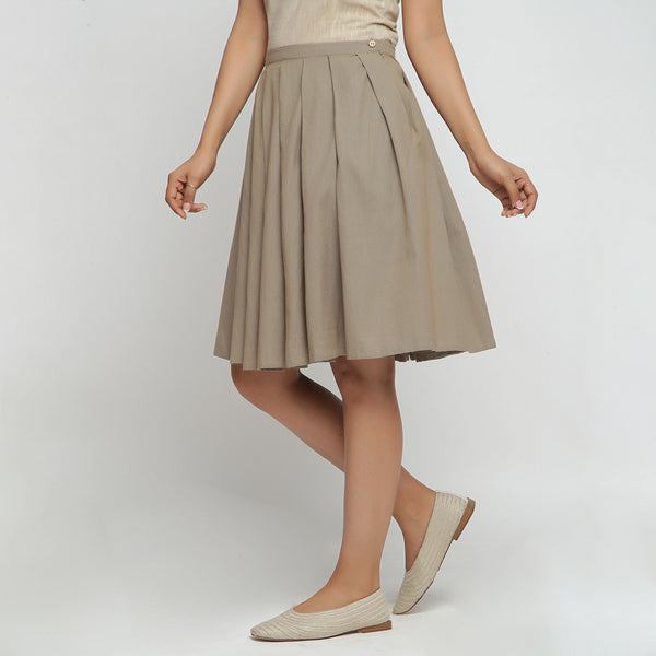 Left View of a Model wearing Basic Brown Cotton Flax Pleated Skirt