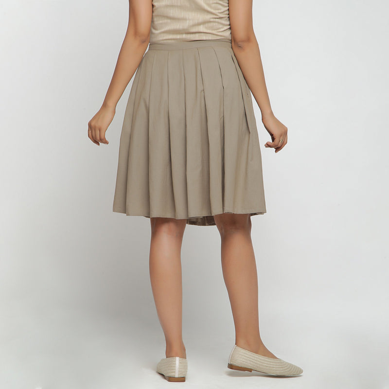 Back View of a Model wearing Basic Brown Cotton Flax Pleated Skirt