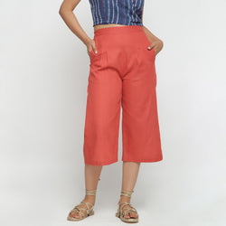 Front View of a Model wearing Brick Red Cotton High Rise Culottes