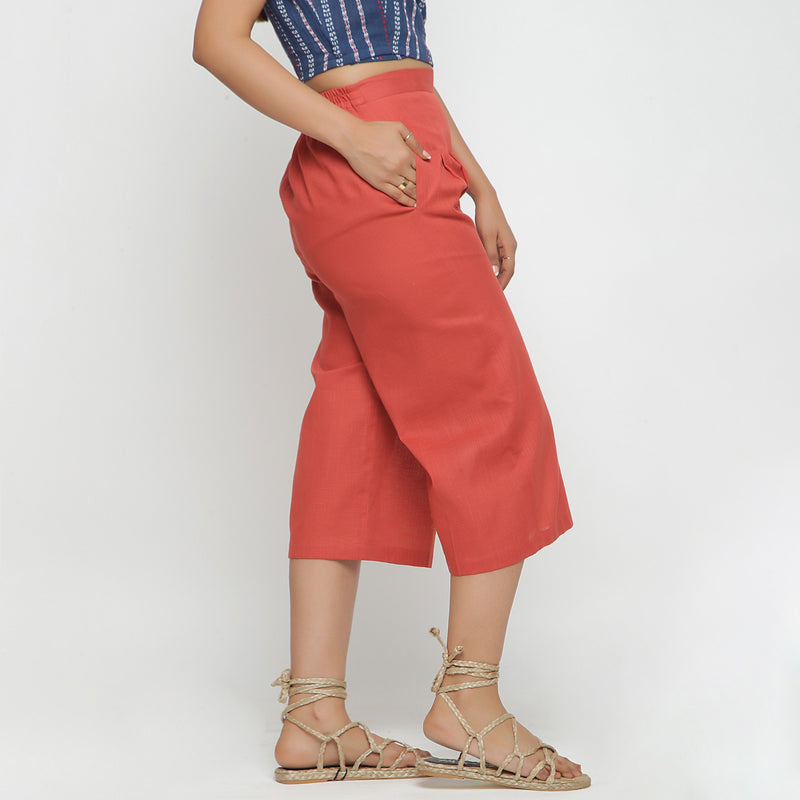 Right View of a Model wearing Brick Red Cotton High Rise Culottes