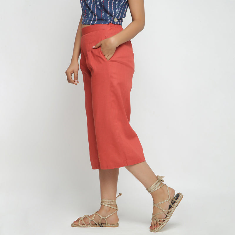 Left View of a Model wearing Brick Red Cotton High Rise Culottes
