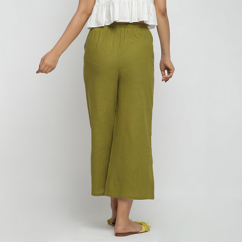 Back View of a Model wearing Olive Green Wide Legged Straight Pant