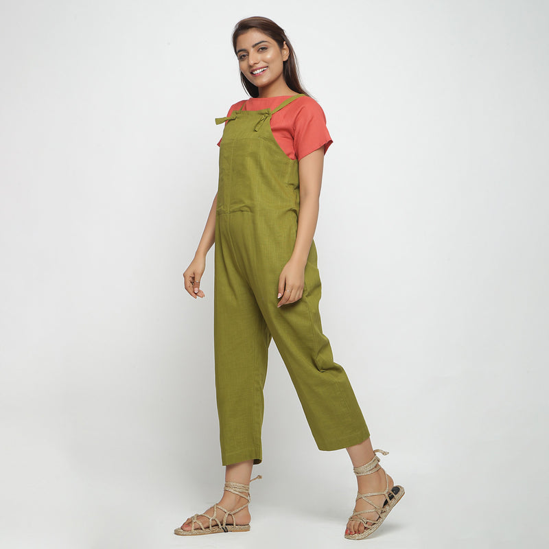 Left View of a Model wearing Olive Green Strap Sleeve Solid Dungaree