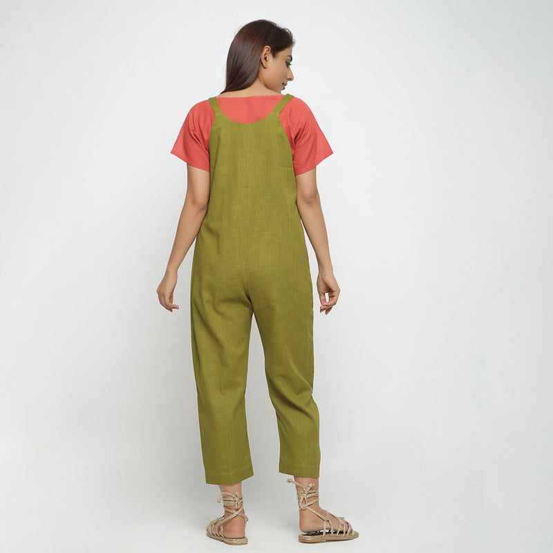 Back View of a Model wearing Olive Green Strap Sleeve Solid Dungaree