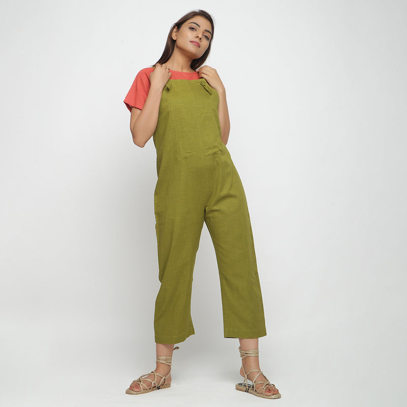 Front View of a Model wearing Olive Green Strap Sleeve Solid Dungaree