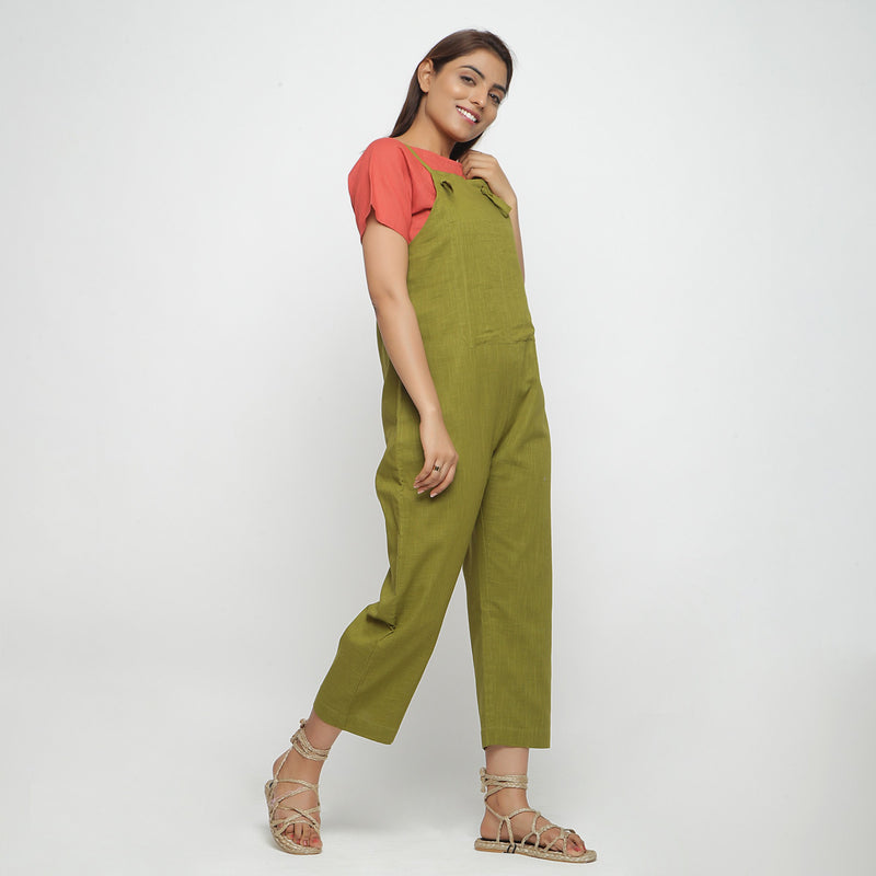 Right View of a Model wearing Olive Green Strap Sleeve Solid Dungaree