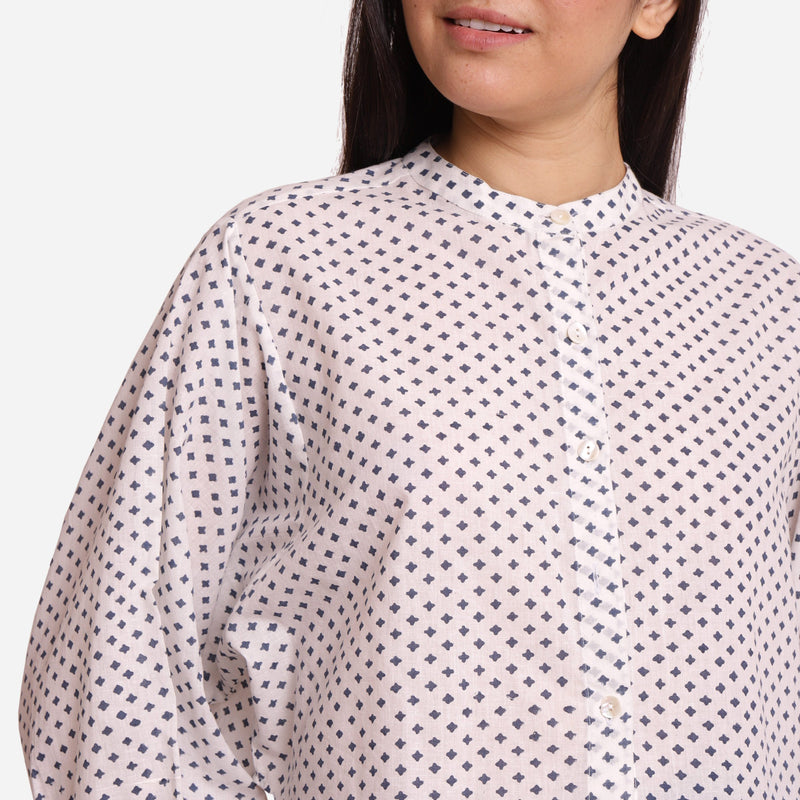 Front Detail of a Model wearing Geometric Pattern Batwing Sleeve Shirt