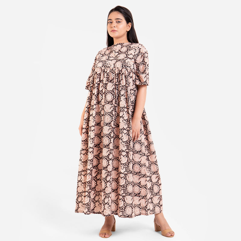Front View of a Model wearing Beige Bagru Printed Floral Flared Dress