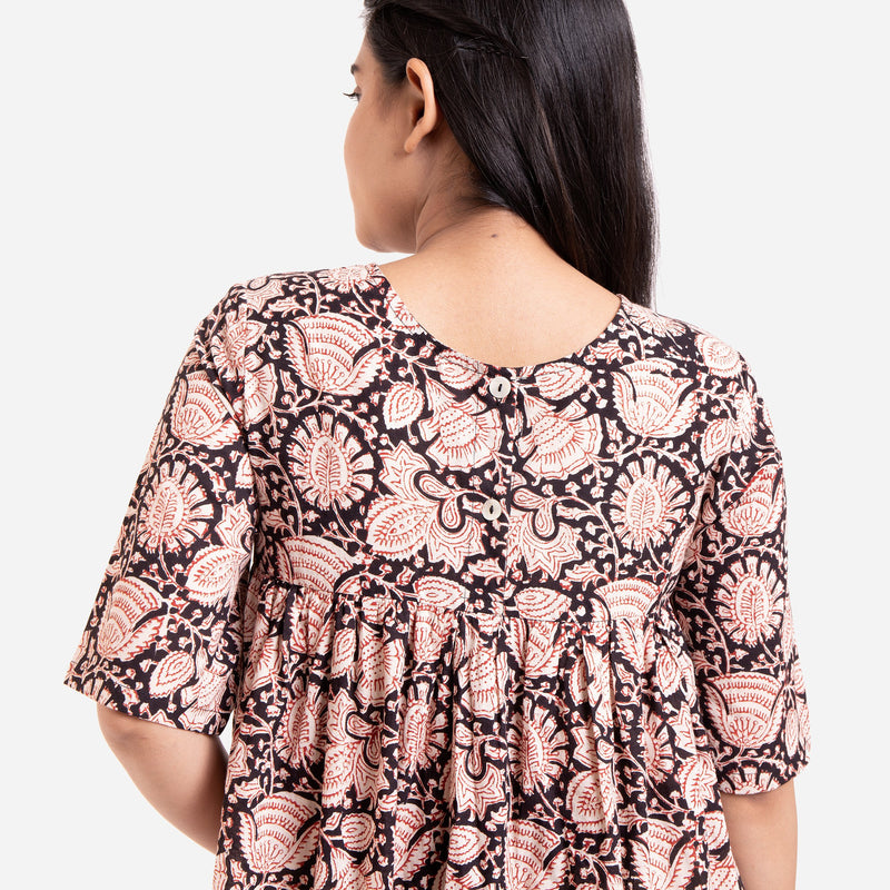 Back Detail of a Model wearing Beige Bagru Printed Floral Flared Dress