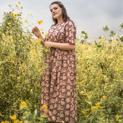 Beige Bagru Printed Floral Flared Dress
