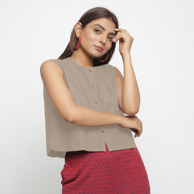 Front View of a Model wearing Beige Cotton Flax Button-Down Shirt