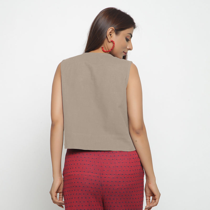Back View of a Model wearing Beige Cotton Flax Button-Down Shirt