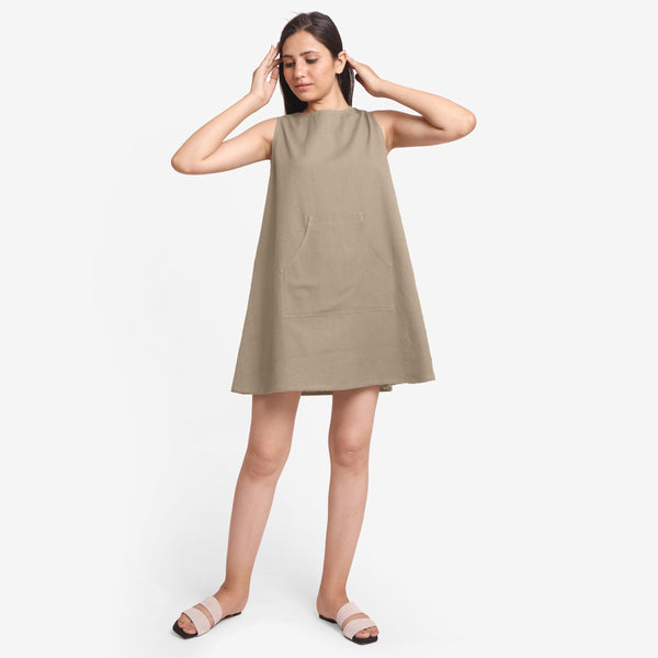 Front View of a Model wearing Beige Cotton Flax Kangaroo Pocket Dress