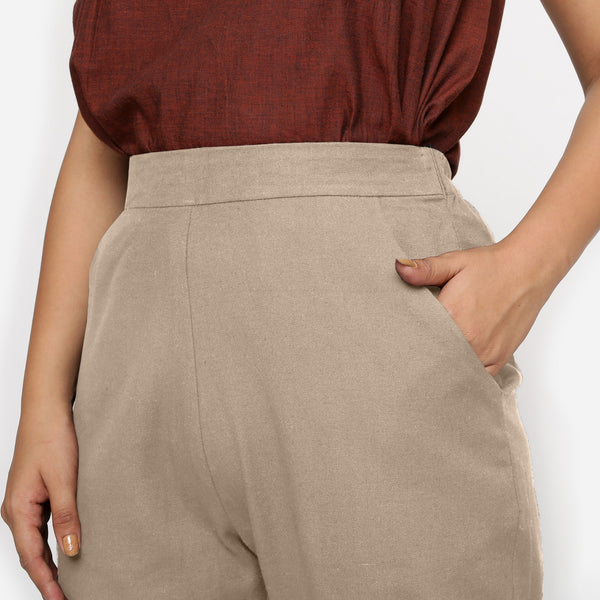 Front Detail of a Model wearing Beige Cotton Flax Straight Pant