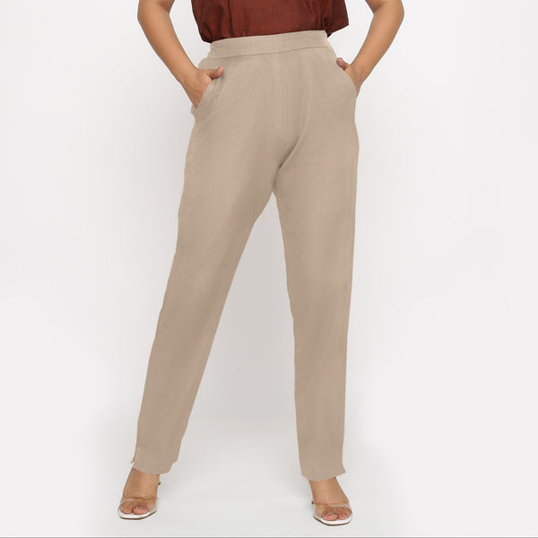 Front View of a Model wearing Beige Cotton Flax Straight Pant