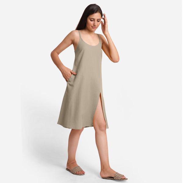 Right View of a Model wearing Beige Cotton Flax Strappy Slit Dress