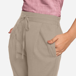 Front Detail of a Model wearing Beige Cotton Flax Wide Legged Pant
