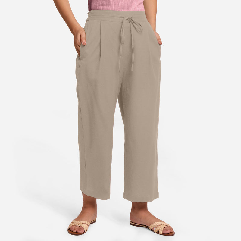 Front View of a Model wearing Beige Cotton Flax Wide Legged Pant