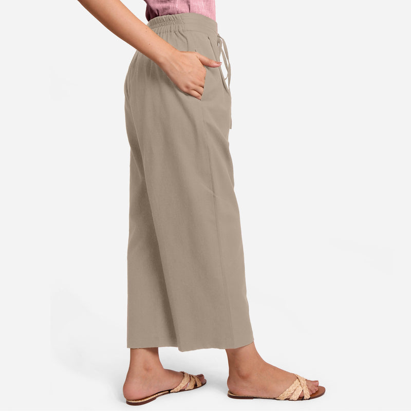 Right View of a Model wearing Beige Cotton Flax Wide Legged Pant