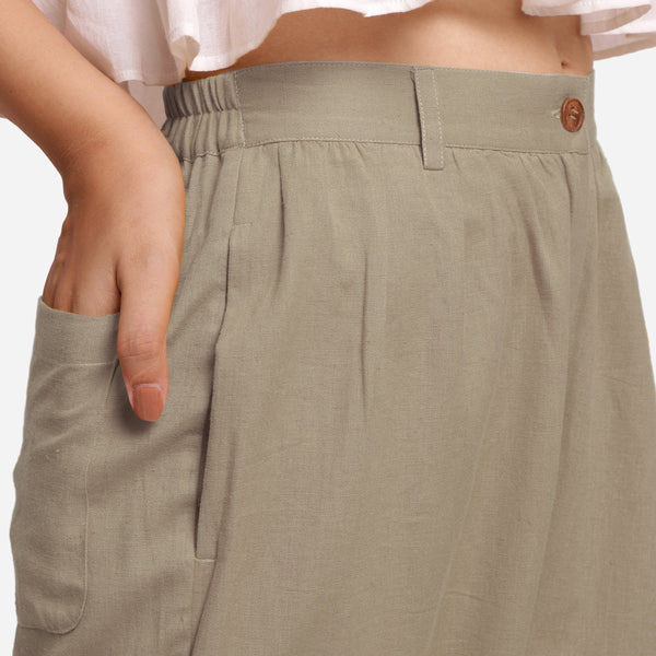 Front Detail of a Model wearing Beige Cotton Flax Wide Legged Straight Pant