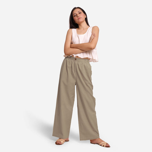 Front View of a Model wearing Beige Cotton Flax Wide Legged Straight Pant