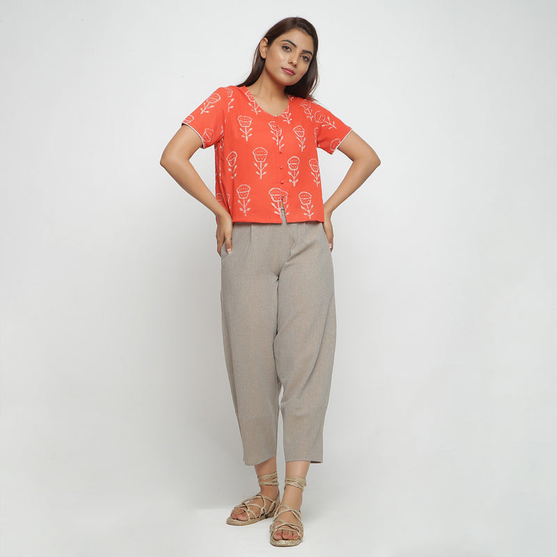 Front View of a Model wearing Yarn Dyed Cotton Beige Paneled Pant
