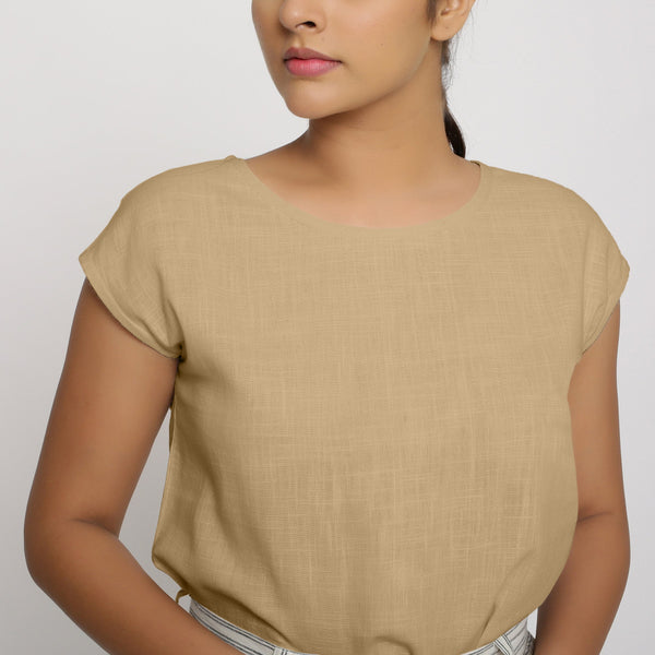 Beige Cotton Slub Straight Top