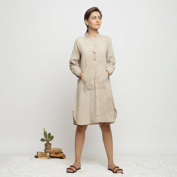 Front View of a Model wearing Beige Dabu Cotton Button-Down Dress