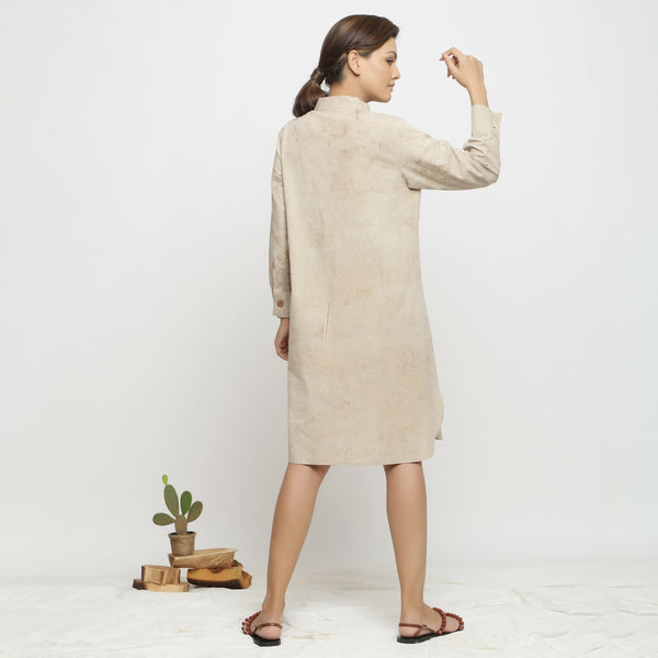 Back View of a Model wearing Beige Dabu Cotton Button-Down Dress
