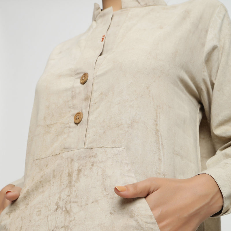 Front Detail of a Model wearing Beige Dabu Cotton Button-Down Dress