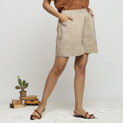 Beige Dabu Print Cotton Flared Shorts